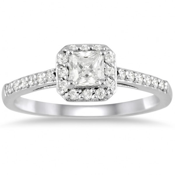 ... engagement rings gleaming halo diamond ring 1 00 carat princess cut