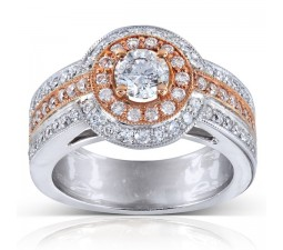 Designer Rose and White Gold 2 Carat Halo Engagement Ring