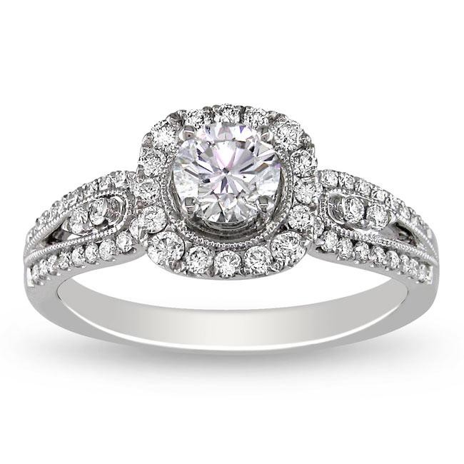 Tantalizing Halo Antique Affordable Engagement Ring 1.00 ...