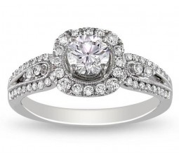 Antique 1 Carat Round Halo Diamond Engagement Ring