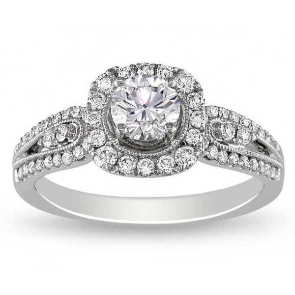 Tantalizing Halo Antique Affordable Engagement Ring 1 00 Carat Round Cut Diam