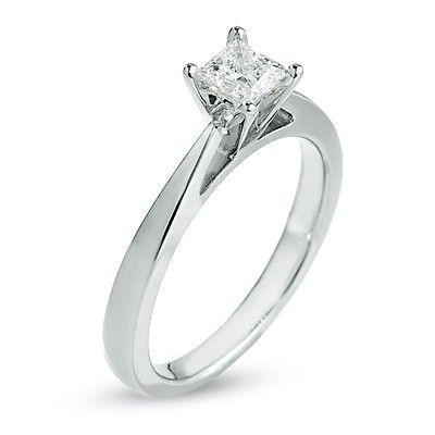 Alluring Solitaire Diamond Ring Half Carat Princess Cut