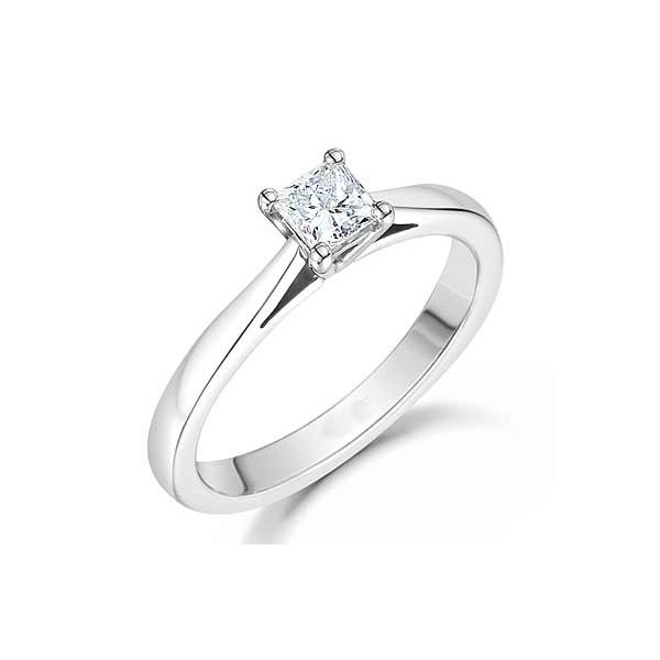 Perfect Cheap Solitaire Diamond Ring 0 33 Carat Princess Cut Diamond on Gold