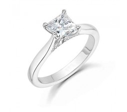 Princess solitaire engagement ring with antique setting