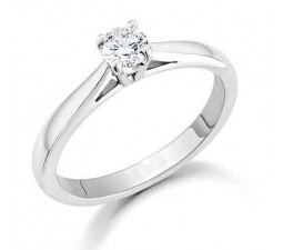 1/4 Round solitaire engagement ring on 10k White Gold