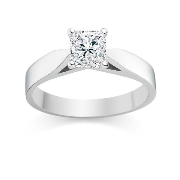 Elegant Cheap Solitaire Wedding Ring Half Carat Princess Cut Diamond