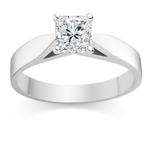 ... Cheap Solitaire Wedding Ring Half Carat Princess Cut Diamond on Gold