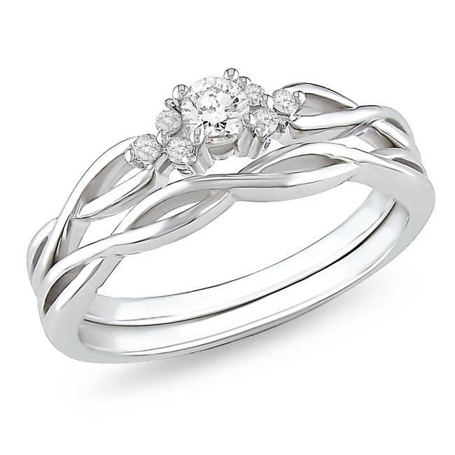 affordable diamond infinity wedding ring set in 10k white gold - Wedding Engagement Ring Sets