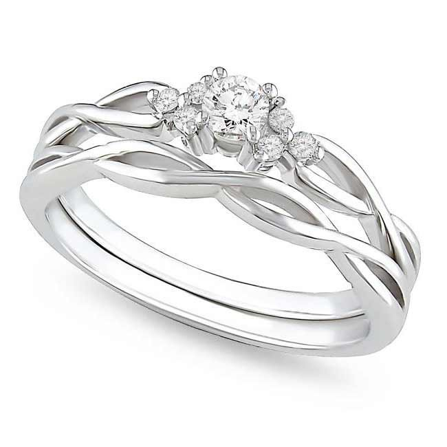 affordable diamond infinity wedding ring set in 10k white gold - Affordable Wedding Ring Sets