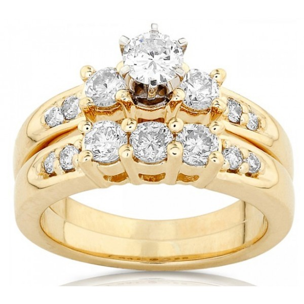 Classic Cheap Diamond Wedding Ring Set 1 Carat Round Cut Diamond on Gold Je