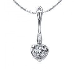 1/5 Carat Diamond Heart Shape Pendant on 10k White Gold