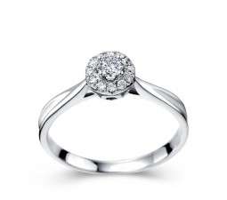 Halo Round brilliant cut diamond engagement ring for women