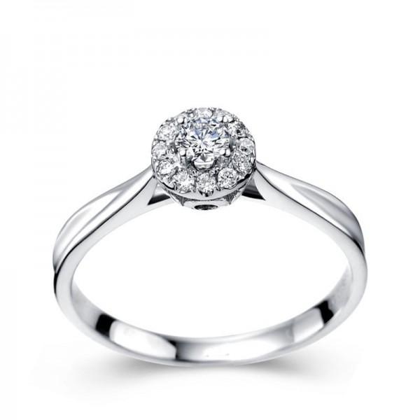 Halo Round brilliant cut diamond engagement ring for women