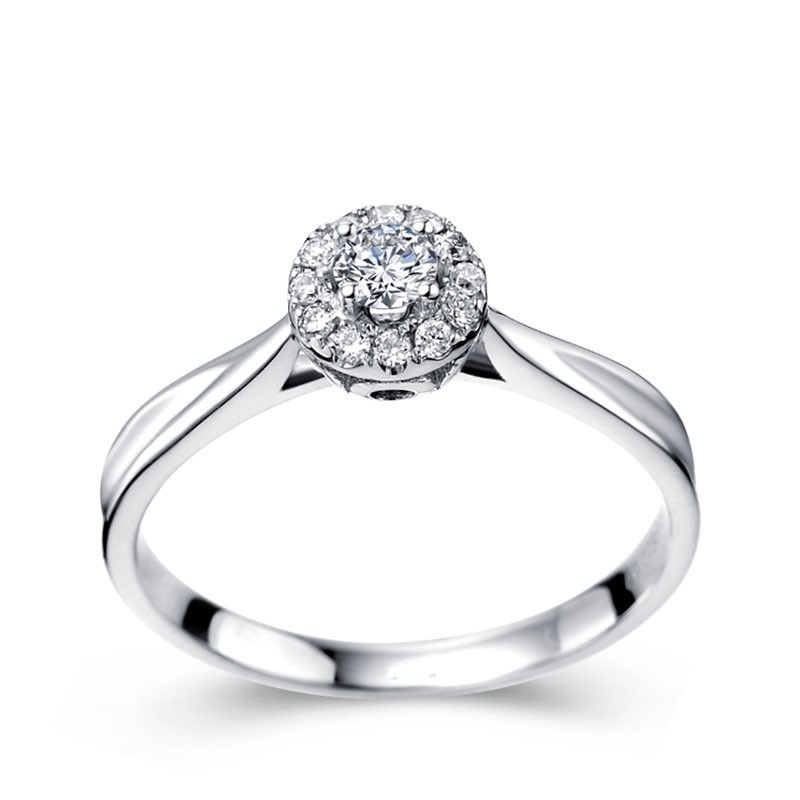 Halo Round Brilliant Cut Diamond Engagement Ring For Women ...