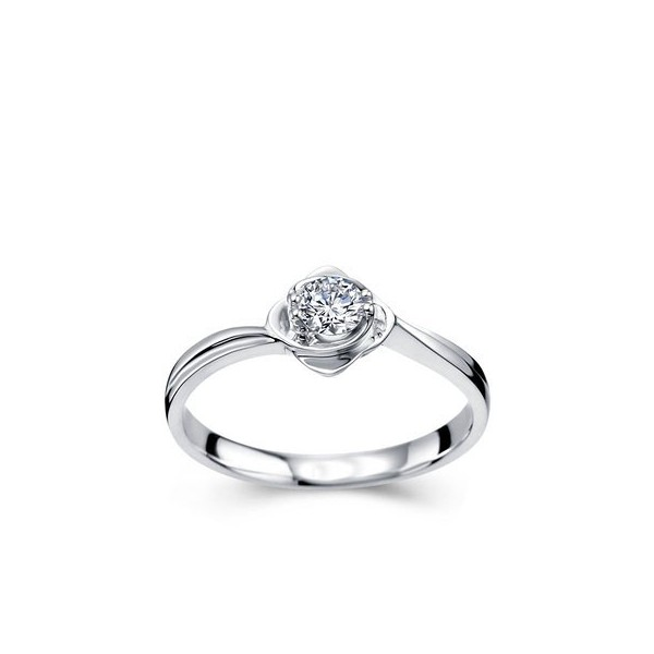 Round Brilliant Cut Curved Solitaire Diamond Engagement Ring