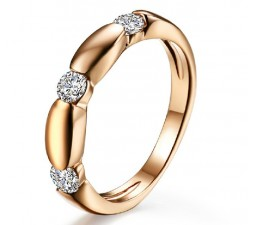 Diamond Wedding Band for Women in 10k Rose Gold