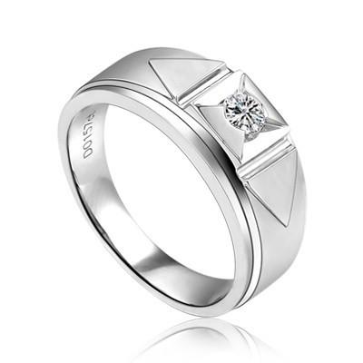 White Gold Diamond Wedding Ring Band for Men JeenJewels