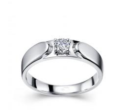 Men's Diamond Wedding Ring Band in White Gold