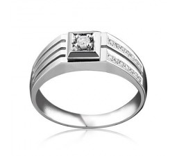 Luxurious Mens Diamond Engagement Ring on White Gold