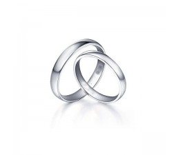 Matching Couple Rings for Him and Her in White Gold