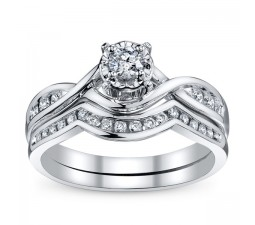 Beautiful Round Diamond Bridal Set on White Gold