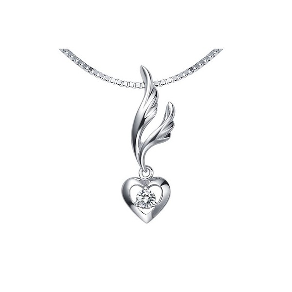 Heart on wings diamond pendant on 10k white gold jeenjewels 13 carat diamond heart shape pendant on 18k rose gold mozeypictures Gallery
