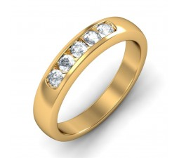 Half Carat Round Diamond Wedding Band in 18k Yellow Gold