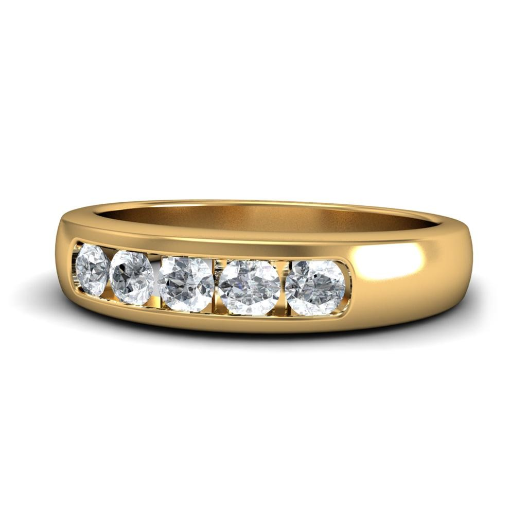 Half Carat Round Diamond Wedding Band in 18k Yellow Gold JeenJewels
