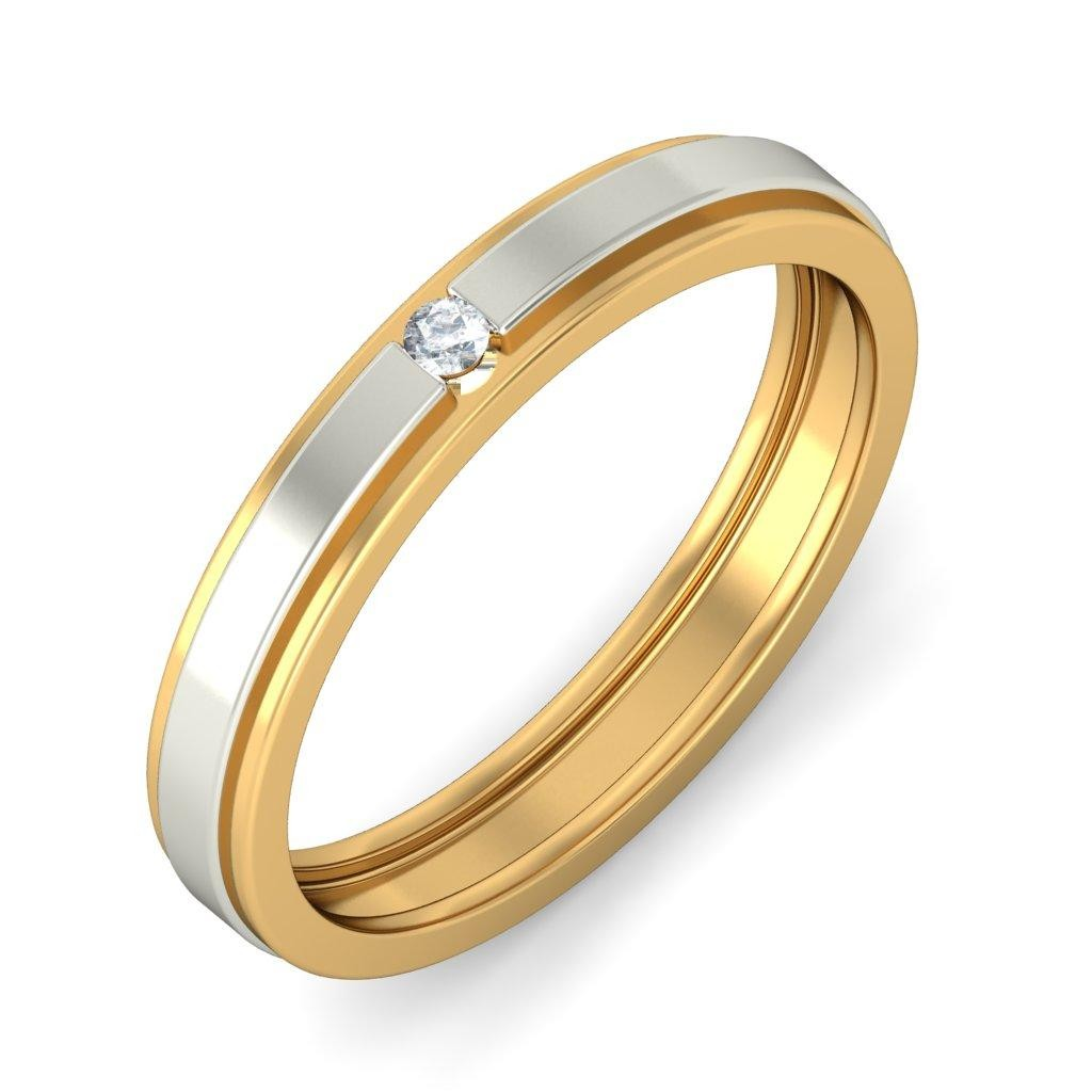 Affordable Round Diamond Wedding Band in Two Tone Gold JeenJewels