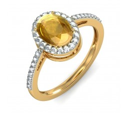 1.50 Carat Diamond and Citrine Ring in Yellow Gold
