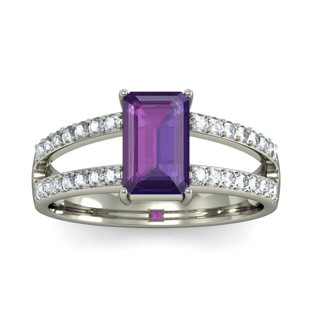 Luxurious 2 Carat Amethyst And Diamond Engagement Ring In White Gold