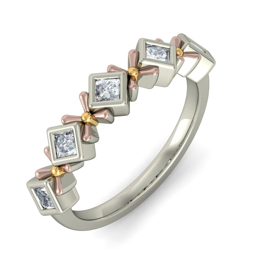 Unique Half Carat Princess Cut Diamond Wedding Ring Band