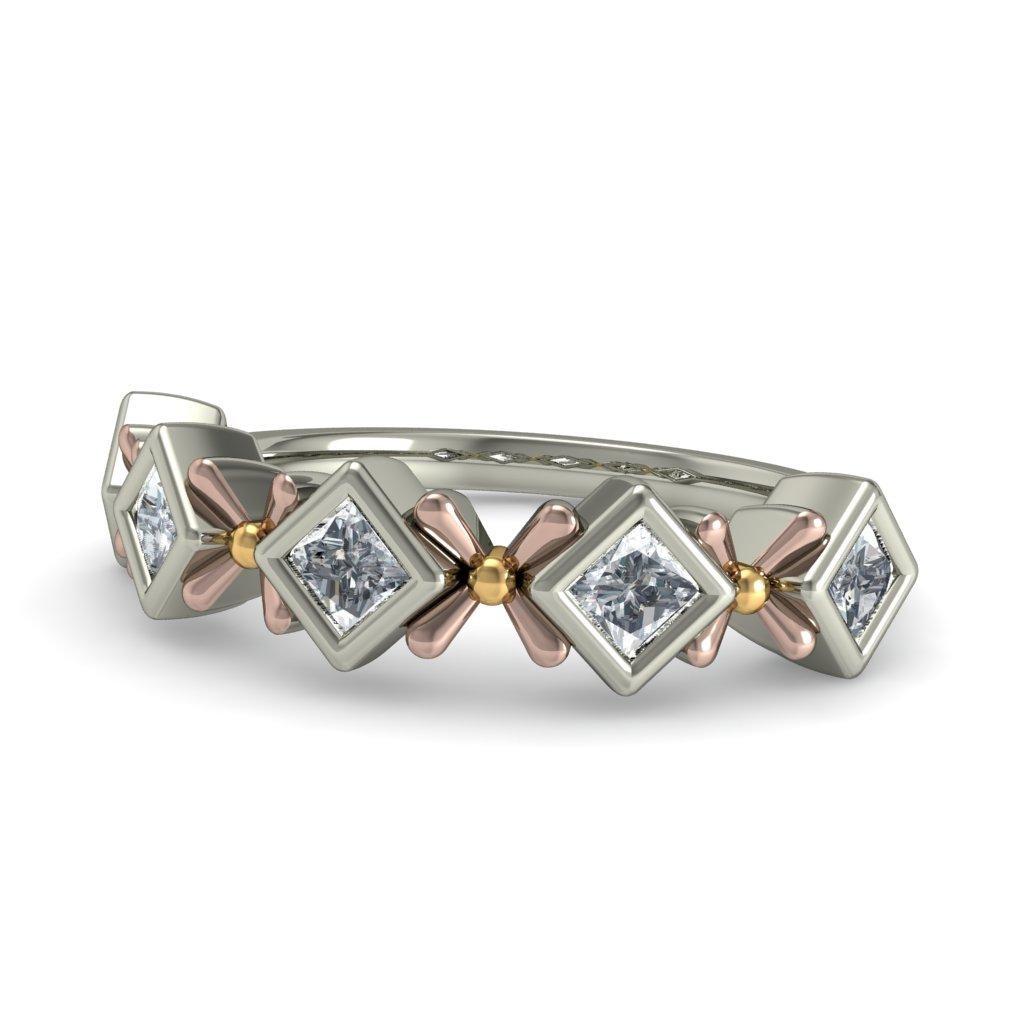 Unique Half Carat Princess Cut Diamond Wedding Ring Band