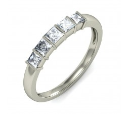 Perfect 5 Stone Princess Wedding Ring Band in White Gold