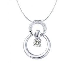 Circle pendants circle necklaces circle shape pendants circle shape diamond pendant on 10k white gold aloadofball Choice Image