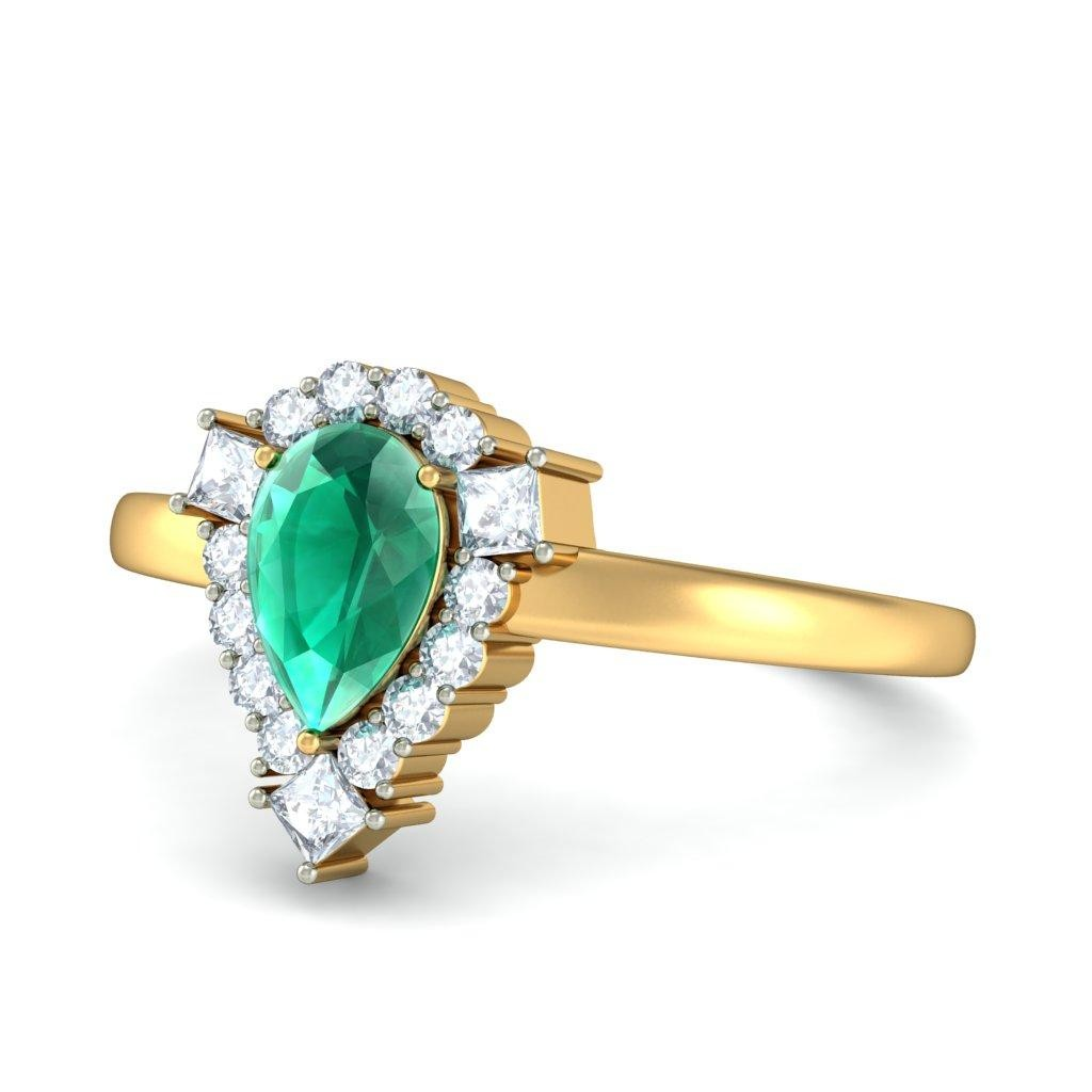 1 carat emerald and ring in yellow gold jeenjewels
