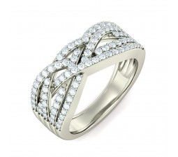 Luxurious sparkling diamond ring for her in white gold