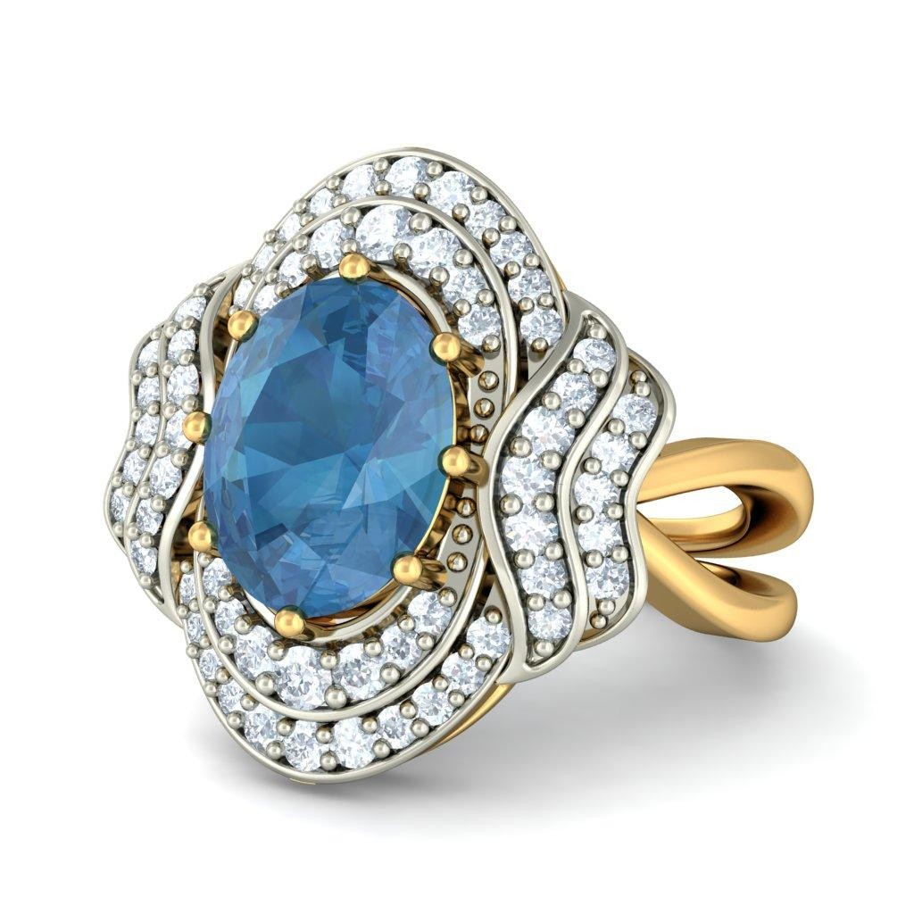 3 50 carat blue topaz and engagement ring jeenjewels