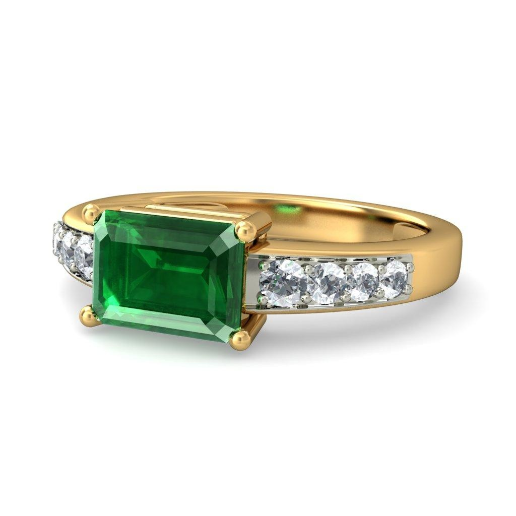 carat emerald and diamond engagement ring in white On emerald and diamond wedding ring