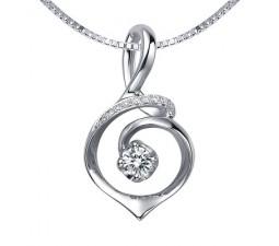 1/2 Carat Diamond Circle Shape Pendant on 14k White Gold