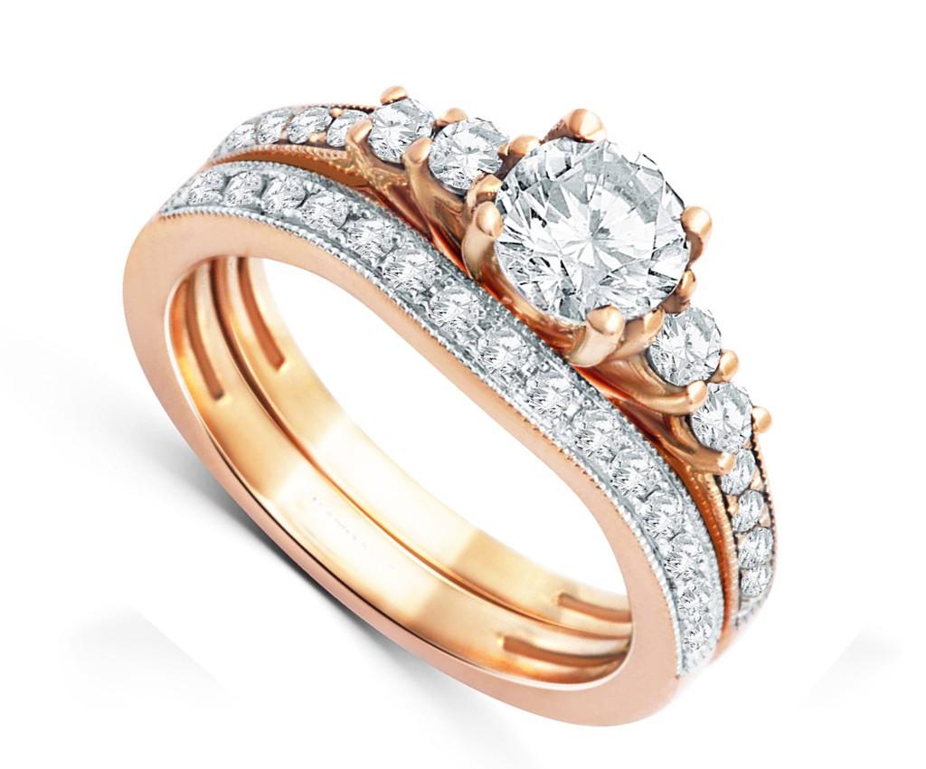 Graceful Diamond Bridal Set 2 Carat Round Cut Diamond on 18k Gold ...
