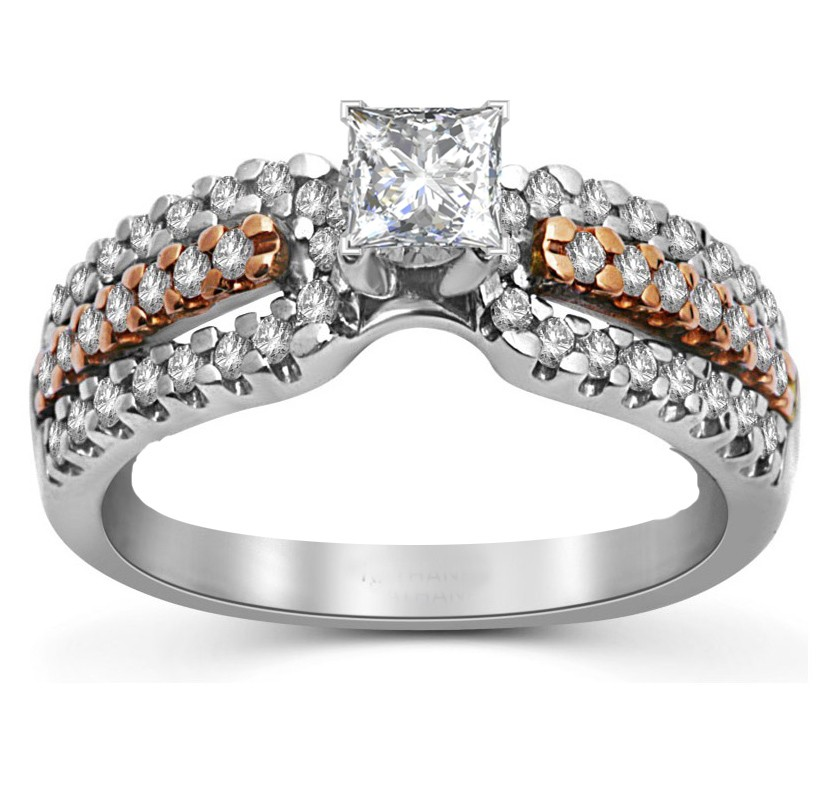 Mesmerizing Rose and White Gold Diamond Wedding Ring 1 00 Carat Princess Cut