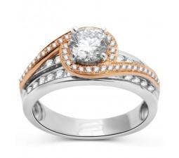 Designer 1 Carat Round Diamond Rose and White Gold Ring