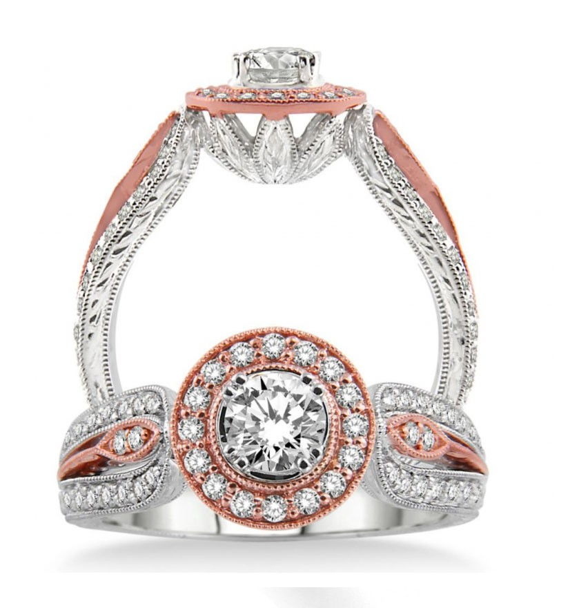Unique Designer Round Diamond Engagement Ring In Rose And