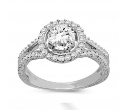 Beautiful Halo Engagement Ring with 1 Carat Round Diamonds
