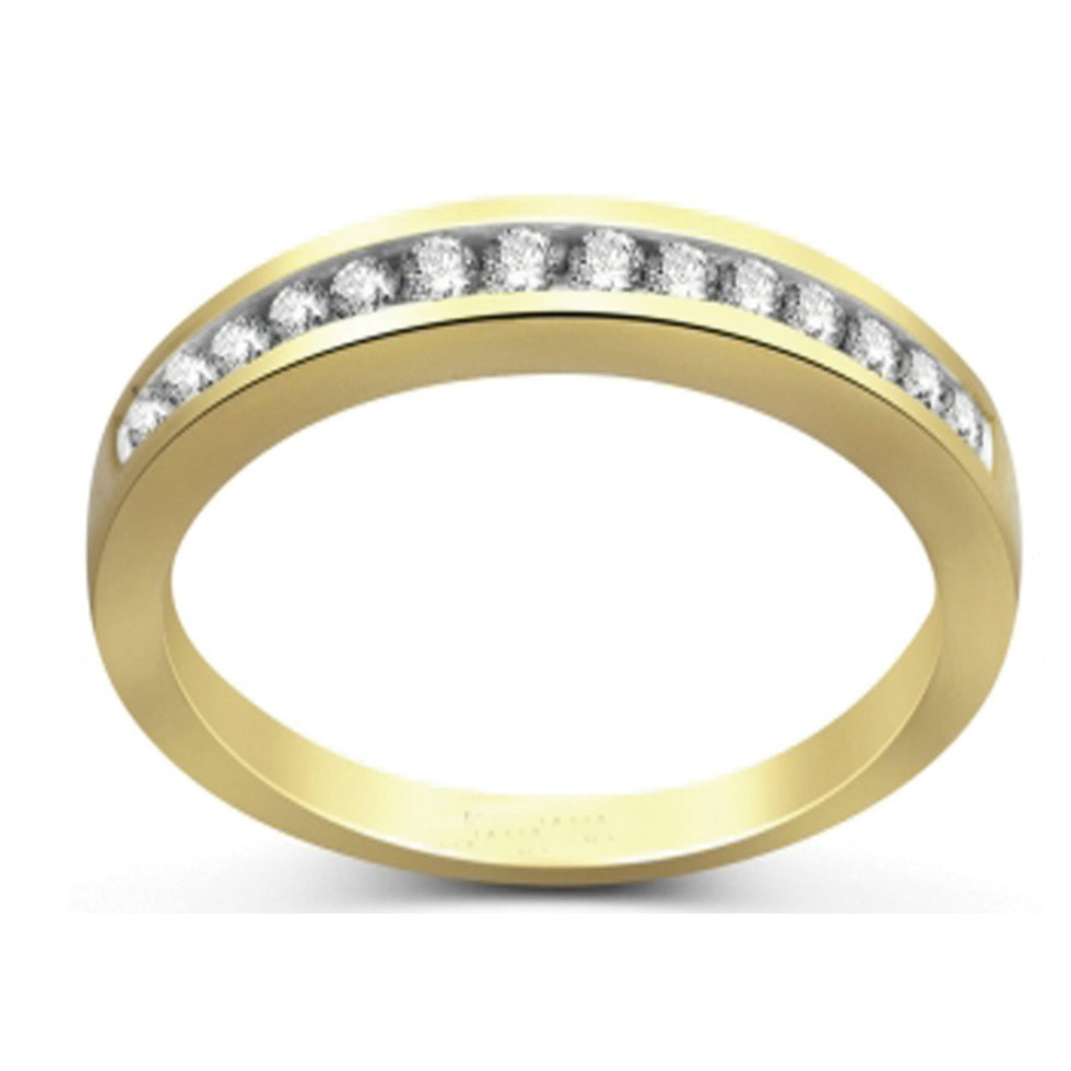 Channel Set Round Diamond Wedding Band In Yellow Gold
