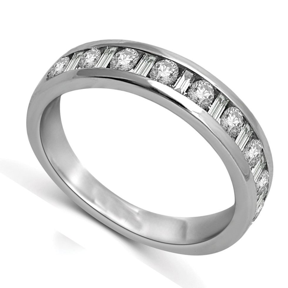 Round and Baguette Diamond Wedding Band in White Gold - JeenJewels