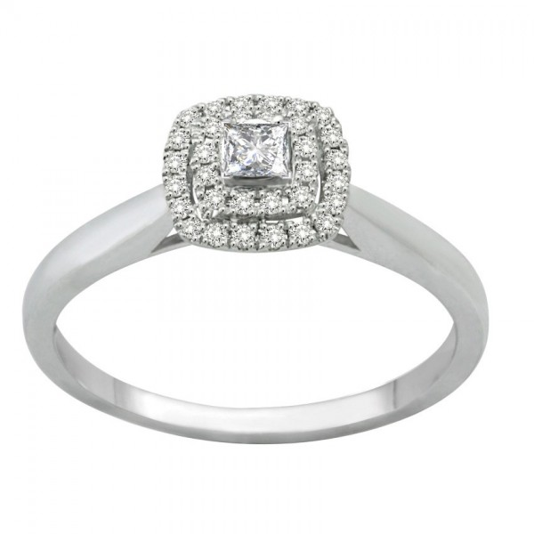 Inexpensive Double Halo Princess Diamond Engagement Ring for Women