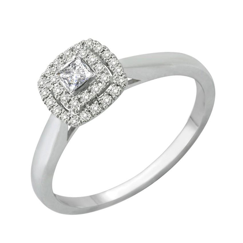 Glamorous Halo Diamond Wedding Ring 050 Carat Princess Cut Diamond On Gold