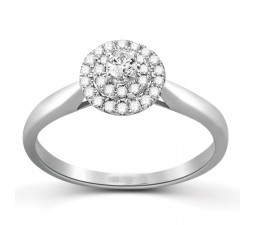 Perfect Double Halo Half Carat Round Diamond Engagement Ring